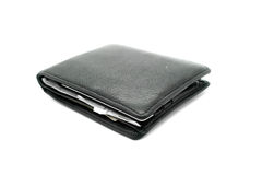 Black leather wallet on white background Stock Photo