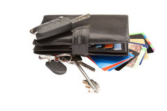 Black Leather Wallet With Credit Cards And Keys Royalty Free Stock Photos