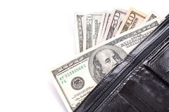 Free Black Leather Wallet With Money Stock Photo - 30205050
