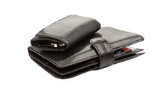 Black leather wallets with credit cards and keys Royalty Free Stock Photography