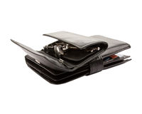 Black leather wallets with credit cards and keys Stock Photography