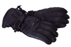 Black leather waterproof winter male gloves isolated royalty free stock image