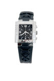 Black leather and white gold watch Stock Photography