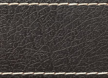 Black leather with white stitches Royalty Free Stock Photo