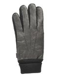 Black leather winter glove isolated. Over the white background Stock Image