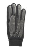 Black leather winter glove isolated. Over the white background Stock Photography