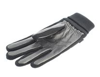 Black leather winter glove isolated. Over the white background Stock Images