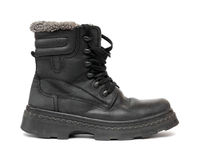 Black leather winter shoe Royalty Free Stock Photos