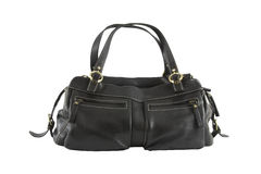 Black leather woman bag Stock Photography