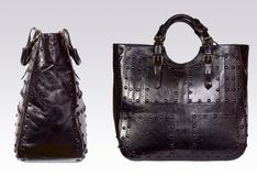 Black leather woman bag Stock Images