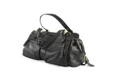 Black leather woman bag Royalty Free Stock Images