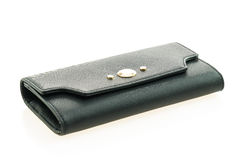 Black leather woman wallet Royalty Free Stock Images
