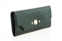 Black leather woman wallet Stock Photography