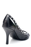 A black leather womans high heel shoe Stock Photography