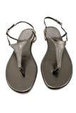 Black leather women's sandal shoe Stock Images