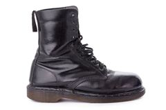 Black leather work boot Royalty Free Stock Image