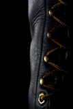 Black Leather Work Boot. Black leather lace up boot Stock Image