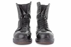 Black leather work boots Royalty Free Stock Photography