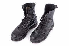 Black leather work boots Royalty Free Stock Photo