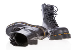 Black leather work boots with steel toe Royalty Free Stock Images