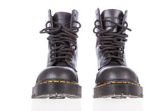 Black leather work boots with steel toe Stock Image