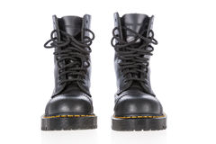 Black leather work boots with steel toe and military style Stock Photography