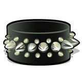 Black leather wristband with metal spikes Royalty Free Stock Images