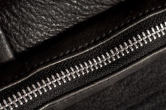Black leather and a zipper close-up Royalty Free Stock Images