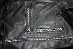 Black leather with zipper Royalty Free Stock Photos