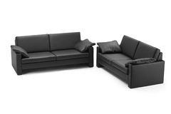 Black leathered furniture stock images