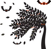 Black Leaves Halloween Tree, Bats Vector,Tree Vectors Stock Photo