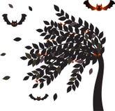 Black Leaves Halloween Tree, Bats Vector,Tree Vectors. Black leaves isolated haunted tree with flying bats on white background Stock Photo
