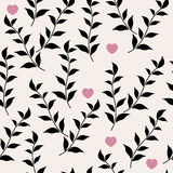 Black leaves and hearts Stock Image