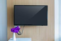 Black LED tv television screen mockup. Royalty Free Stock Photography
