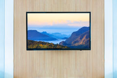Black LED tv television screen mockup. Landscape on monitor Royalty Free Stock Photos