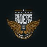 Black Legend Riders typographic design Royalty Free Stock Photo