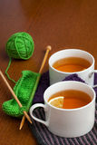 Black Lemon Tea on Knitted Napkins Royalty Free Stock Image