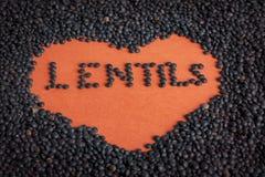 Black lentils. A Spanish black lentils variety Royalty Free Stock Photography
