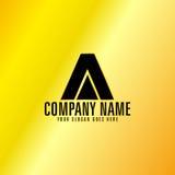 Black Letter A Emblem with Golden Background. Vector, Illustration Stock Photos