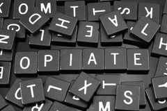 Black letter tiles spelling the word & x22;opiate& x22; Stock Photos