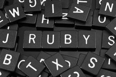 Black letter tiles spelling the word & x22;ruby& x22;. On a reflective background stock image