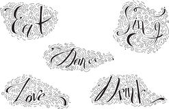 Black lettering with words Dance, Drink, Eat, Love, Sing. Decorated with hand drawn lines, swirls and dots. Vector illustration wi Stock Photos