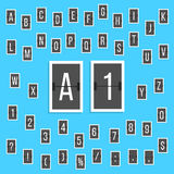 Black letters and numbers alphabet scoreboard Stock Image