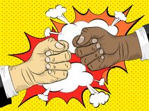 Black life matters, the concept of the struggle for equal. Rights. Two hands in bumping together, fighting gesture, vector illustration Stock Photos