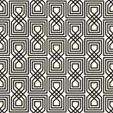Seamless Geometrical Interlaced Black Pattern. Black and light beige interlaced geometrical seamless pattern Royalty Free Stock Image