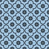 Black on light blue club and circle seamless repeat pattern background stock illustration