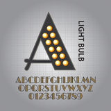 Black Light Bulb Alphabet and Numbers Vector stock illustration
