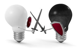 Black light bulb fighting duel with swords and shields against white one. Isolated on white Royalty Free Stock Image