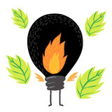 Black light bulb mascot and nature Royalty Free Stock Images