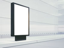 Black lightbox on the empty street. Blank facades Royalty Free Stock Photography